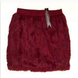 Faux fur burgundy mini skirt XS